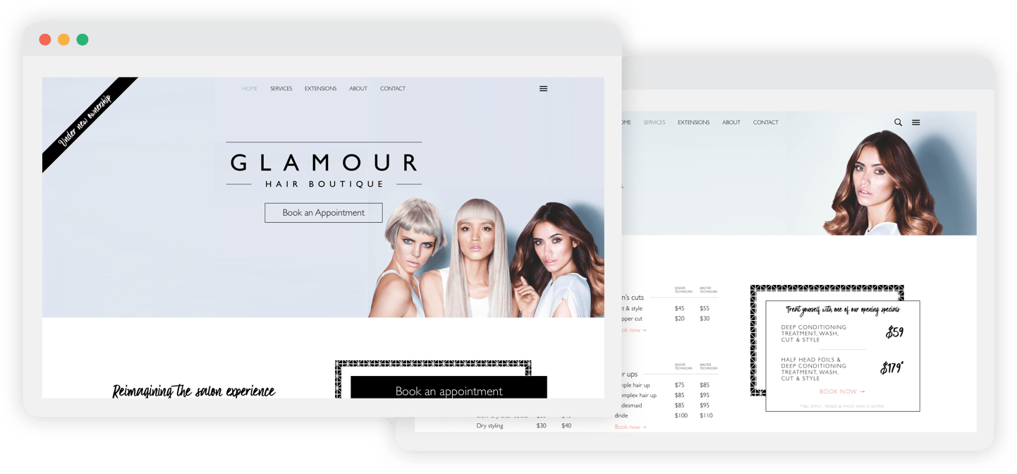 Glamour Boutique website design portfolio design and development example
