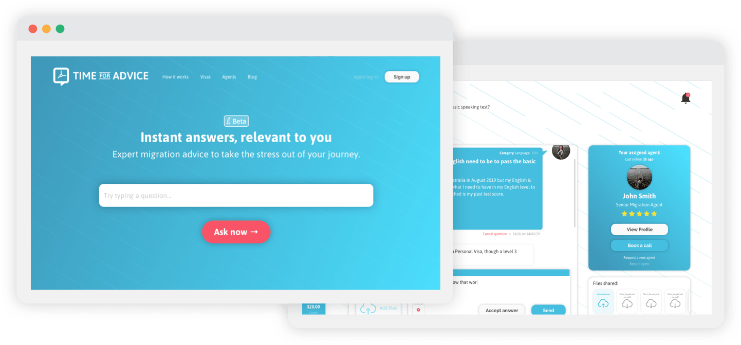 Time for Advice Web App portfolio design and development example
